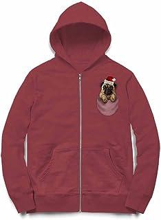 Fox Republic 怒った パグ サンタクローク クリスマス 犬 バーガンディー キッズ パーカー シッパー スウェット トレーナー 110cm