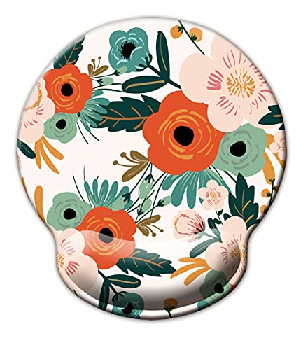 Ergonomic Mouse Pad with Wrist Support,Dooke Cute Wrist Pad with Non-Slip Rubber Base for Computer, Laptop, Home Office Gaming, Working, Easy Typing & Pain Relief,Orange Flower