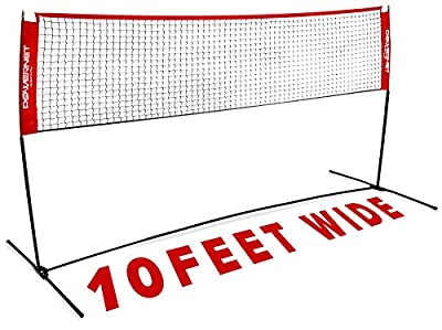 PowerNet Volleyball practice net station Portable- Badminton, Tennis, Volleyball, Pickleball Net | 10ft Wide | 3ft to 5ft Height Adjustable