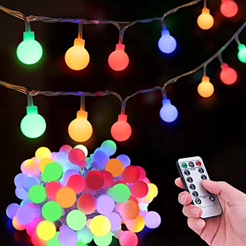 Unihoh Globe String Lights, USB or Battery Powered 15m/49ft 100 LED Fairy Lights with Remote 8 Modes Waterproof Decorative Outdoor Indoor Lights for Christmas Holiday Bedroom Wedding - Multi-Coloured