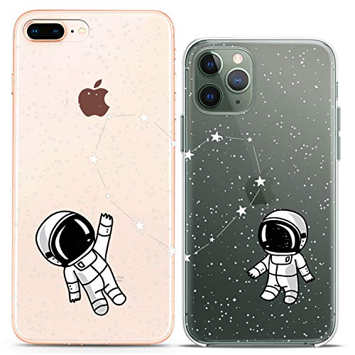 Cavka TPU Couple Cases for Apple iPhone 11 Pro Xs Max X Xr 8 Plus 7 6s SE 5s Astronaut Matching Space Constellation Silicone Cover Clear Girlfriend Anniversary Flexible Women Cute Print Mate Lovely