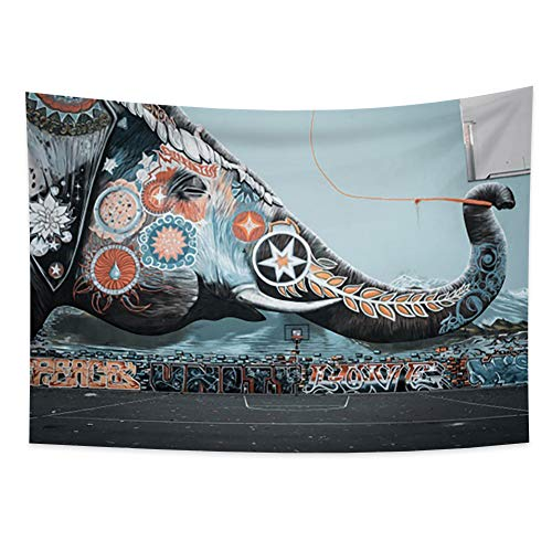 Miueapera Tapiz de pintura de pared de elefante Tapiz de cancha de baloncesto Tapiz de pared hippie Graffiti de pared Tapiz de dios elefante indio Tapiz de elefante floral Comedor 100x70cm