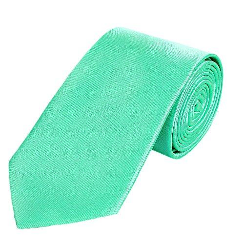 DonDon hombres corbata 7 cm business professional classica hecho a mano verde menta para la oficina o eventos festivos