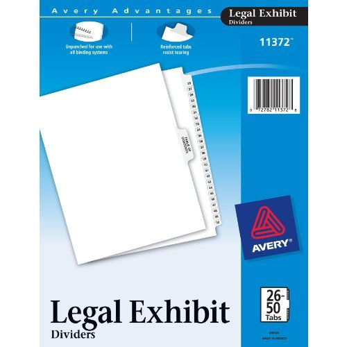 Avery Premium Collated Legal Exhibit Divider Set, Avery Style, 26-50 and Table of Contents, Side Tab, 8.5 x 11 Inches, 1 Set (11372) Office Supply Product