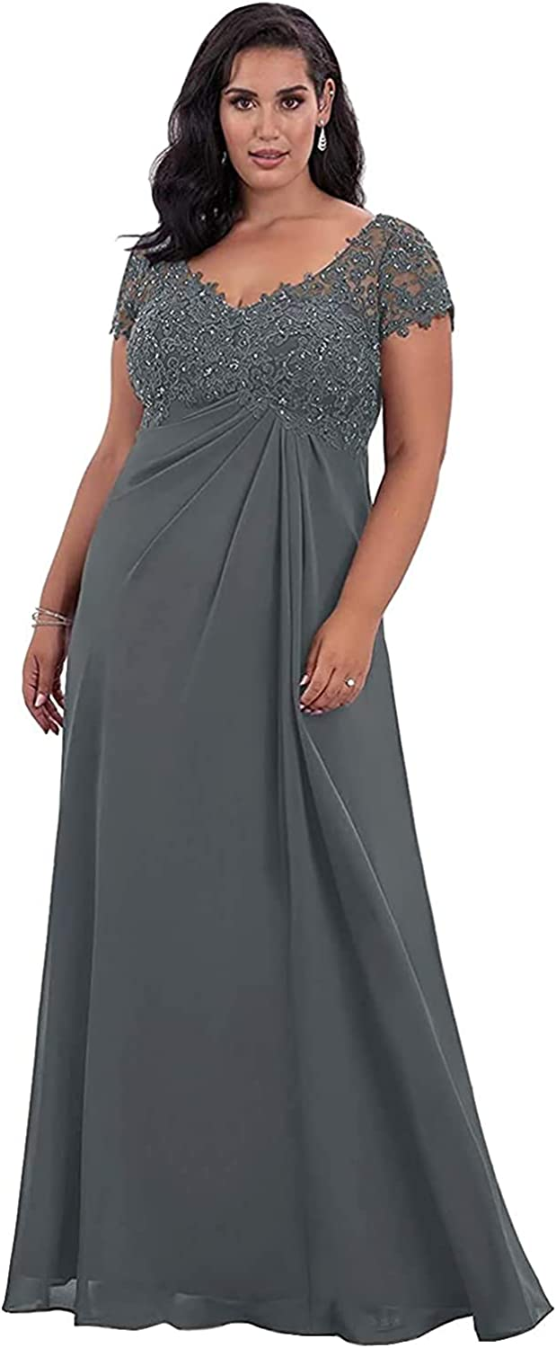 Elegant Empire Long Mother of Bride Dress for Wedding Lace Appliques Beads Prom Dress Formal Evening Gowns