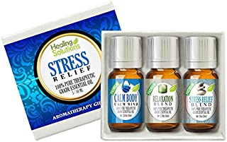 Stress Relief Blend Set 100% Pure, Best Therapeutic Grade Essential Oil Kit - 3/10mL (Calm Body/Calm Mind, Relaxation, and Stress Relief)
