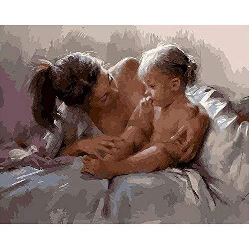 DIY-Malerei nach Zahlen Mutter und Kind ?lfarbe nach Zahlen auf Leinwand Digitales Gem?lde Zeichnungsnummer 40x50 cm