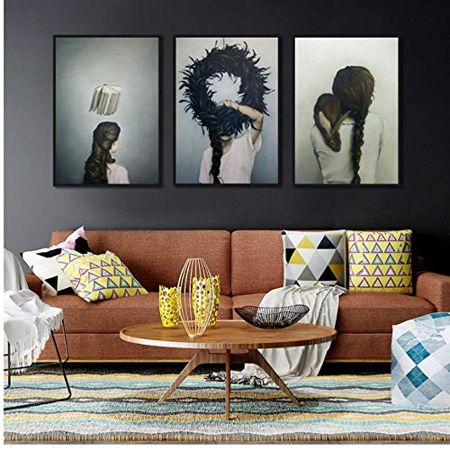WEDSA Good Art Canvas Painting Decoration Abstract Classic Dark Poster misy Minimalist Picture Girl Picture Wall Art Print Canvas for Living Room Entrance Bedroom Decor 60x80cmx3 No Frame