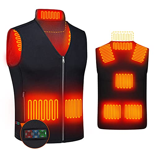 DOACE Heated Vest for Women and Men, Smart Electric Heating Vest Rechargeable, Warming Heated Jacket, Lightweight Heated Coat for Skiing Fishing Camping Hunting Motorcycle, Battery Not Included