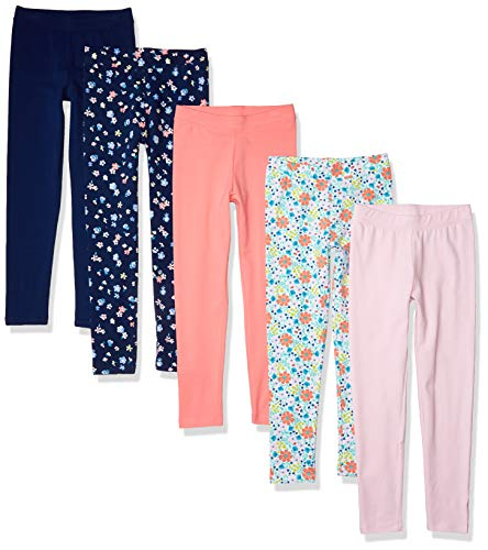 Amazon Essentials 5-Pack Girls leggings-pants, mehrfarbig (blume), X-Small