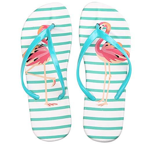 Damen Mädchen Fashion Flamingos Zehentrenner Hausschuhe Anti-Rutsch Flip Flops Sandalen Strandschuhe Grün 36-37 EU