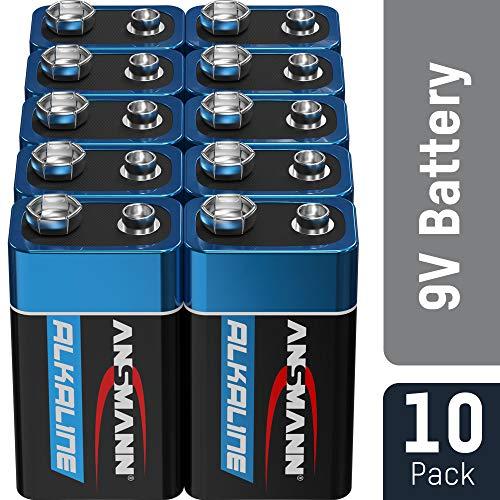 ANSMANN 9V Block Batterien 10 Stück - Alkaline 9 Volt Blockbatterie ideal für Bewegungsmelder,...
