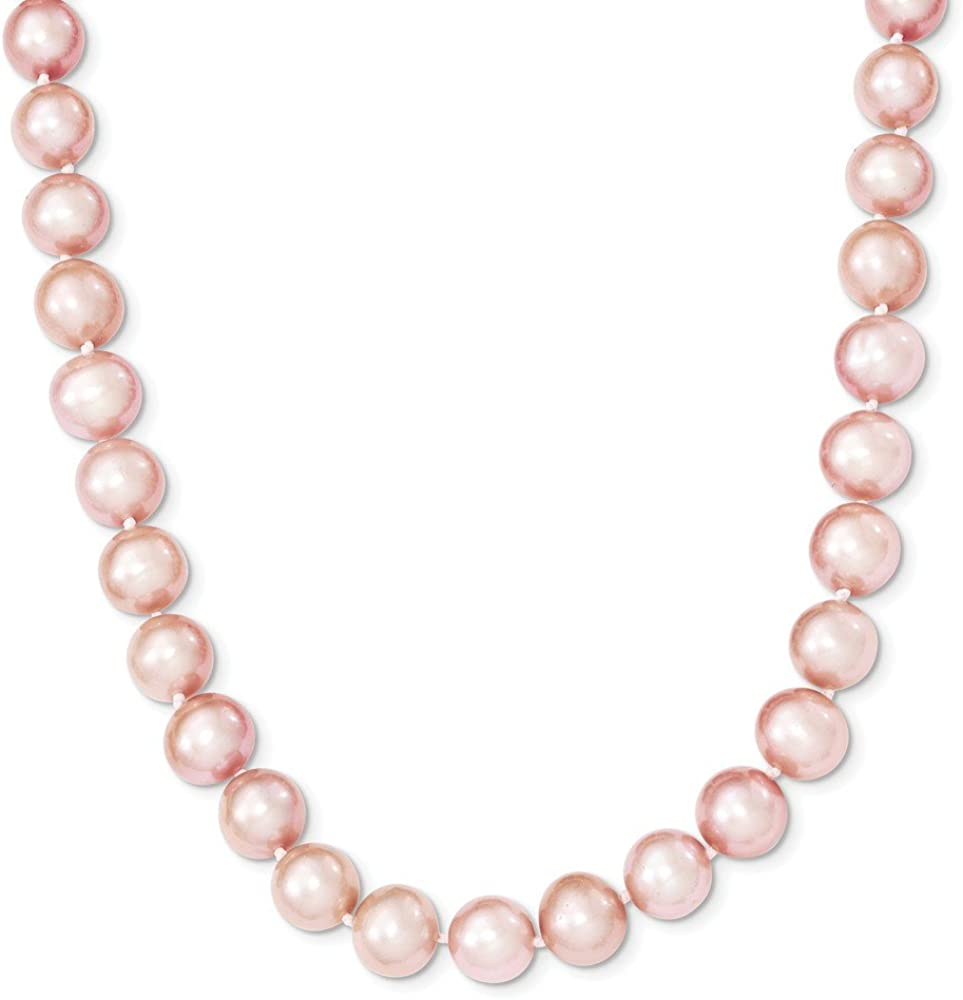Sterling Silver Free Shipping New Rhodium-plated 9-10mm Import Necklace FWC Pink Pearl