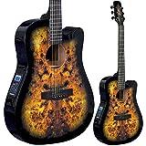 Lindo Guitars Venus Guitare acoustique Pan coupé vénitien Housse de transport en toile Violet/noir