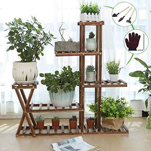 CFMOUR Wood Plant Stand Indoor Outdoor, Garden Plant Shelf Multi Tier Flower Shelf Rack Display Stands,Wooden Plant Shelves Planter Organizer for Living Room Patio Balcony Garden