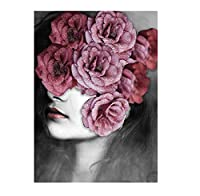 花の羽の女性抽象キャンバス絵画壁アートプリントポスター画像装飾絵画リビングルーム家の装飾フレームなし40×60