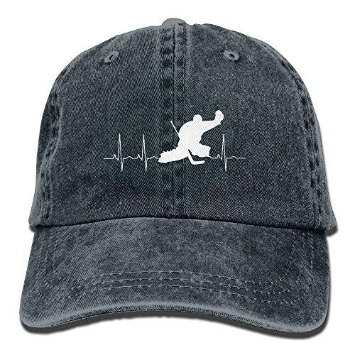 Egoa Strapback Hut Unisex Baseball Cap Baumwolle Denim Hut Hockey Goalie Heartbeat Einstellbare Snapback Outdoor Sports Cap