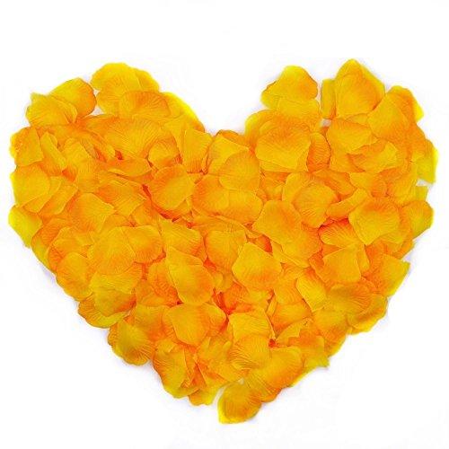 JZK 1000 x Seta Petali di Rosa Finti Arancione coriandoli biodegradabili Stoffa Decorazione Tavolo per Matrimonio Addio al Nubilato San Valentino Nozze