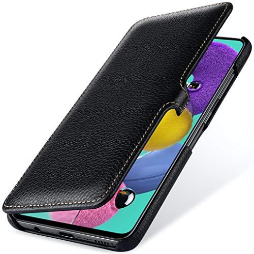StilGut Book Case entwickelt für Samsung Galaxy A51 Hülle aus Leder mit Clip-Verschluss, Lederhülle, Klapphülle, Handyhülle - Schwarz