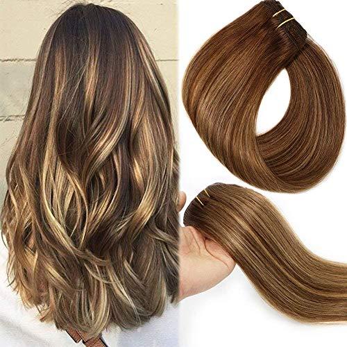 Clip in extensions echthaar 9A Brasilianisches Haar 120g 7pcs Schokoladenbraun bis Dunkelblond Highlight Schokoladenbraun Vollkopf Seidig Gerade 100{faecca30eb925ed9677d449684ce639d5aefd08ed49bbbc3a06995f30d07f366} Echthaar Clip In hair Extensions 20 Zoll/50 CM