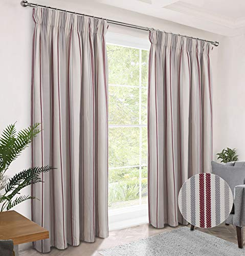"""Alexandra Cole Farmhouse Curtains for Living Room Bedroom Room Darkening Pencil Pleat Window Curtains Country Curtains 2 Panels Red 46"""" X 54"""""""