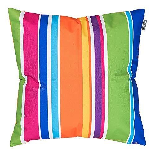 Bean Bag Bazaar Gartenkissen, Mehrfarbiger Streifen, 2er-Pack, 43cm, Kissen Wasserabweisend, Textilfaserfüllung–, Dekoratives Zierkissen für Gartenbänke, Stühle oder Sofas