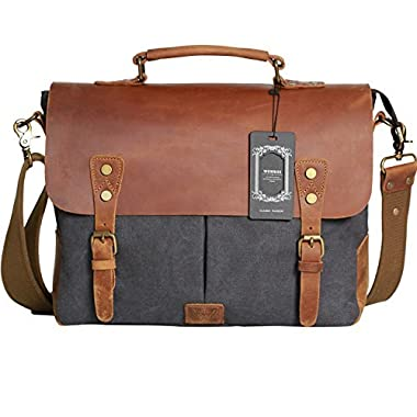 Wowbox Messenger Satchel bag for men and women,Vintage canvas real leather 14-inch Laptop Briefcase for everday use 13 (L) x10.5 (H) x 4.1 (W)(Gray)