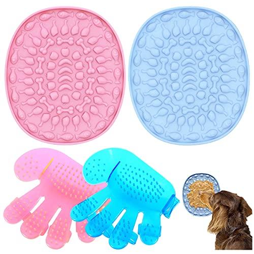 CHENKEE Lot de 2 tapis à lécher pour animal domestique - En silicone - Avec 2 brosses de...