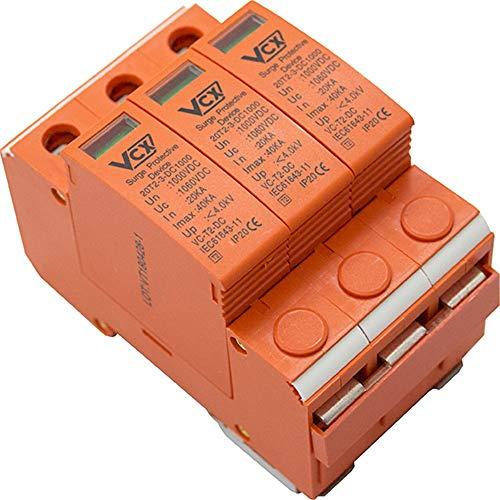 Überspannungsschutz 1000V 20KA Solarlange Blitzschutz für DC Photovoltaik C T2 3P