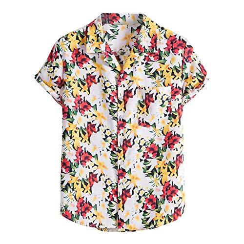Camicie per Uomo Manica Corta Hawaiana Regular Fit Floreale Multi Color Petto Petto Petto Manica Corta Tondo Camicetta Allentata Camicetta (XL,4- Giallo)