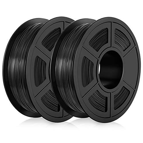 PLA Filament 1.75mm, PLA 3D Printer Filament, Dimensional Accuracy +/- 0.02mm, 2KG (4.4 LBS) Spool 3D Printing Filament for 3D Printers, Black+Black