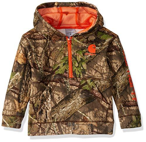 Carhartt Boys' Toddler Hooded Half Zip Sweatshirt, Mossy Oak 219, 4T