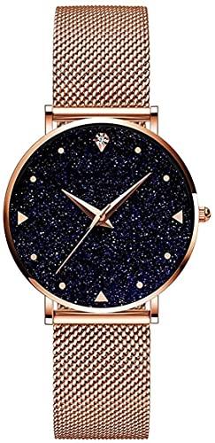 QHG Starry Sky Señoras Relojes analógicos de Cuarzo Acero Inoxidable Impermeable Malla Ultrafino (Color : Rose)