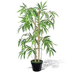 GOTOTOP Artificial Bamboo Tree Greenery Plants in Nursery Pot Fake Decorative Trees for Home, Office, 35inch High