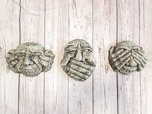 HomeZone Garden Mile Set Of Hear, Speak & See No Evil Stone Effect Resin Gargoyles Hanging Garden Wall Plaques Robust Garden Ornaments Lawn Sculptures Garden Figures Weatherproof Garden Decorations