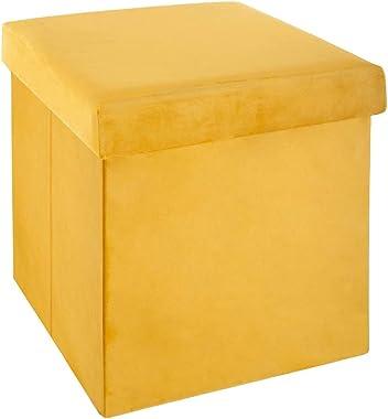 Pouf pliable - L 38 x l 38 x H 38 cm - Velours - Jaune moutarde