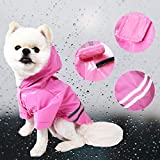 Duotopia Dog Raincoat Waterproof Coats for Dogs Lightweight Rain Jacket Breathable Rain Poncho Hooded Rainwear with Safety Reflective Stripes (L, Pink)