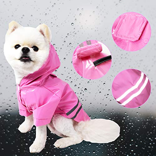 Duotopia Dog Raincoat Waterproof Coats for Dogs Lightweight Rain Jacket Breathable Rain Poncho Hooded Rainwear with Safety Reflective Stripes (XL, Pink)