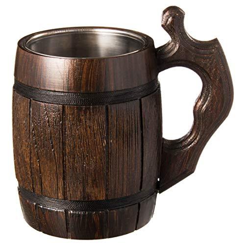 Boccale di birra fatto a mano in legno di rovere con acciaio inossidabile Ecologico naturale 0,6 litri (20 once) marrone