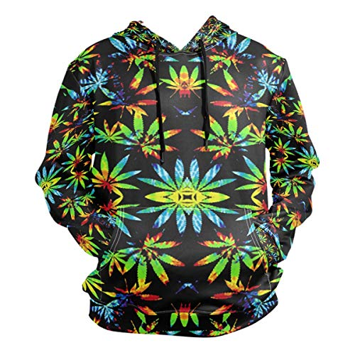 Tie Dye Pot Leaf Weeds Men's Hipster Hip Hop Classic Pullover Long Hoodie Sweatshirts Jacket