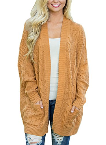 Dokotoo Womens Fashion Ladies Female Casual Autumn Winter Autumn Chunky Long Sleeve Open Front Cable Knit Cardigans Sweaters Jackets Outerwear Coat Yellow Large