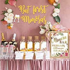 ALL-IN-ONE: The mimosa bar bundle package includes 1 Gold Glittery But First Mimosas Banner, 1 Mimosa Bar Gold Foil Sign, 4 Juice Label Tags with Strings. DOES NOT INCLUDE FRAME. MIMOSA BAR SIGN: Made with gorgeous luxe gold foil and premium pure whi...