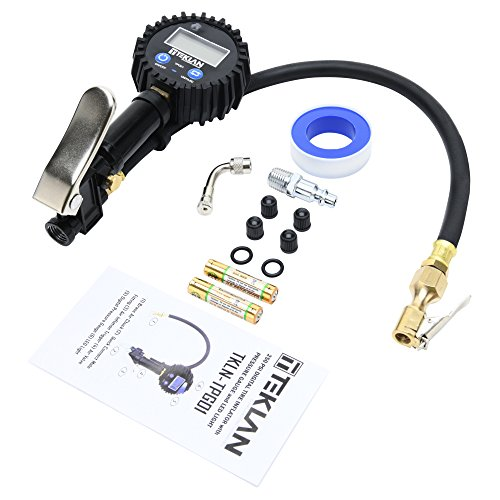 TEKLAN Digital Tire Inflator with Pressure Gauge - 250 PSI, LED Light, Air Chuck, Heavy Duty Hose, Compressor Connect - Inflate Bike, Auto (Motorcycle, Car, SUV, Truck, RV) Tires - Simple, Portable