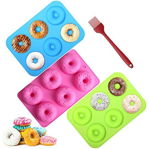 Aitsite 3 Pcs Molde para Donut de Silicona, Molde Silicona Horno Donut, sin BPA, Antiadherente, para hornear moldes para pasteles, magdalenas, galletas, bagels.