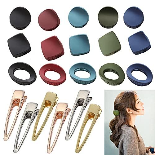Geyan 21 pinzas de garra para el pelo pequeño hueco en forma de gota de metal cepillado con pasador lateral para las mujeres y las niñas