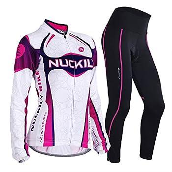 NUCKILY Cycling Jersey Women Set Long Sleeve Bike Shirt 3D Pad Pants Tights Suit
