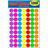 Pack of 1008 1-inch Diameter Round Color Coding Dot Labels, 7 Bright Neon Colors, 8 1/2' x 11' Sheet, Fits All Laser/Inkjet Printers, 63 Labels per Sheet, 1'