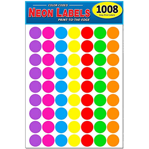 "Pack of 1008 1-inch Diameter Round Color Coding Dot Labels, 7 Bright Neon Colors, 8 1/2"" x 11"" Sheet, Fits All Laser/Inkjet Printers, 63 Labels per Sheet, 1"""