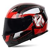 Bluetooth Modular Motorcycle Helmet Double Visor Motorbike Full Face Moped Helmet DOT/ECE Approved Scooter Crash Helmet for Adult Men And Women Built-In Communication Systems,Black red,M