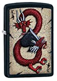 Dragon Ace Design Black Matte Lighter Windproof Lighter Design All Metal Construction Refillable for a Lifetime of Use (Refill Lighter Fluid Sold Separately) Made in the United States